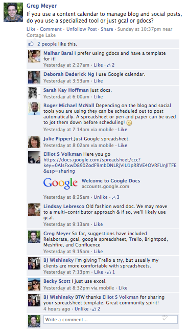 a conversation among community manager types on Facebook